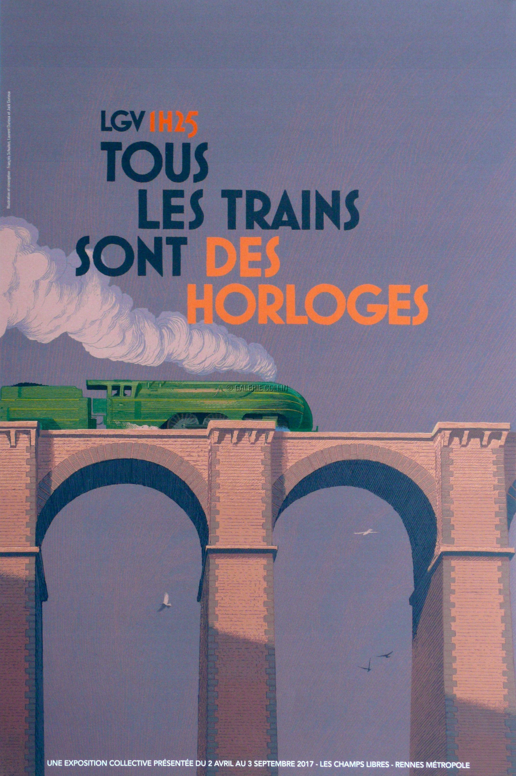 Schuiten Durieux Affiche Expositionles Trains Sont Des