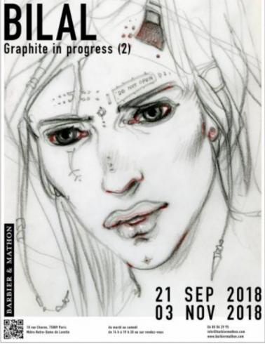 "BILAL . Affiche de l'exposition""Graphite in progress """