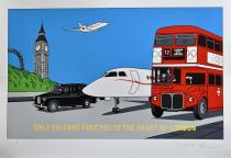 "FLOC'H . Rare Sérigraphie""Only Falcons take you to the heart of London"" E.A signée"